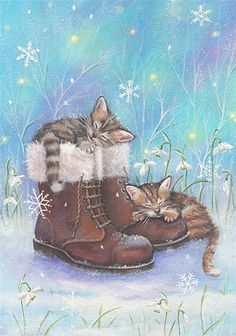 Gentle, kind and very nice illustration of Sarah Summers. Discussion on LiveInternet - Russian Service Online diary Art And Illustration, Christmas Illustration, Illustrations, I Love Cats, Crazy Cats, Cute Cats, Christmas Animals, Christmas Cats, Cat Embroidery