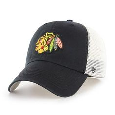 7cd7c1c9d97f8 Chicago Blackhawks 47 Brand Black Closer Mesh Back Stretch Fit Slouch Hat  Cap