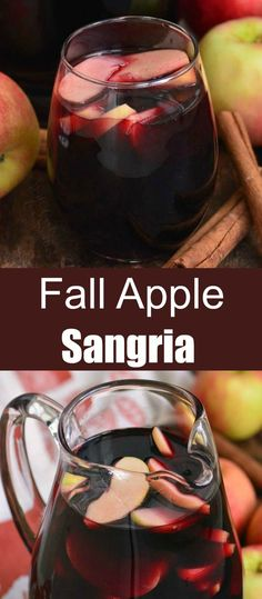 Red Wine Cocktails, Red Wine Sangria, Apple Sangria, Fall Cocktails, Fancy Drinks, Cocktail Drinks, Apple Cocktails, Sweet Alcoholic Drinks, Vodka Sangria