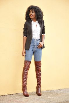 Leather Lapel Blazer x High Waist Jeans