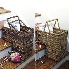 Captivating Wicker Stair Baskets