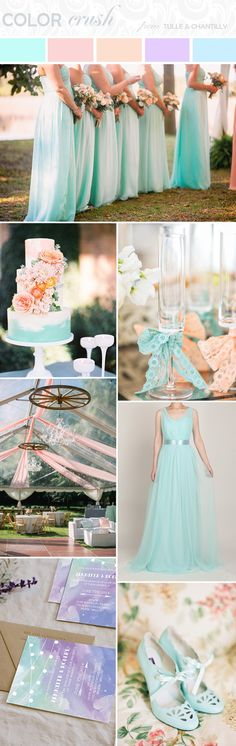 mint blue and peach wedding color ideas with mint blue bridesmaid dress