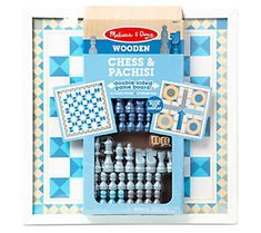 Ensure twice the fun with this chess and pachisi double-sided wooden game board for beginner or experienced players. From Melissa & Doug.
