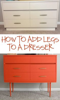 Furniture Refurb: Adding Legs to a Dresser Upcycled Furniture Adding dresser Furniture Legs Refurb Dresser Furniture, Refurbished Furniture, Repurposed Furniture, Furniture Projects, Furniture Making, Vintage Furniture, Painted Furniture, Home Furniture, Modern Furniture