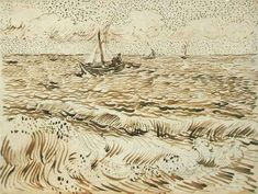 drawingdetail:    Vincent van Gogh, A Fishing Boat at Sea, 1888. Ink on paper. The Saint Louis Art Museum, St. Louis, Missouri.