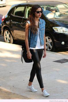 Lovely denim vest, white top, faux leather black leggings look