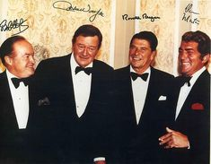 The frattest picture ever taken. Ronald Reagan, John Wayne, Bob Hope, and Dean Martin.