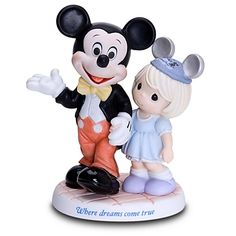 ''Where Dreams Come True'' Disney Girl and Mickey Mouse Figurine by Precious Moments
