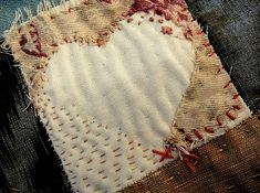 This is a great way to mend store bought Quilts with your own touch and love. Use your Imagination ! I Totally love this ! Hippie Hugs with Love,Michele~♥~ Art Textile, Textile Artists, Embroidery Stitches, Hand Embroidery, Fabric Hearts, Make Do And Mend, Textiles, Fabric Journals, Running Stitch