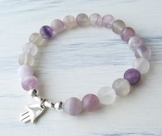 PROTECTION & GROUNDING Fluorite Bracelet with Hamsa by TheZenOwl, $25.00