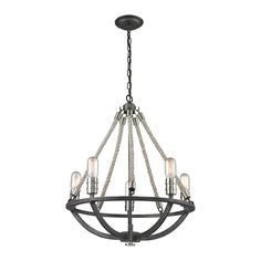 Natural Rope 5 Light Mini Chandelier