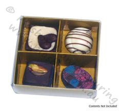 Chocolate Box Four Cavity with Gold Base and Clear Lid