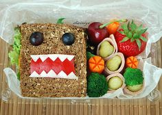 "This is amazing. It's called ""Domokun Sandwich Bento"". I wish I could find the time to make this for my kids for their lunch!"