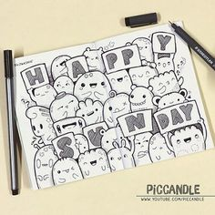 Doodle - 04 January 2015 | ❋ For More PicCandle ❋ YouTube | … | Flickr Cute Doodle Art, Doodle Art Letters, Doodle Art Drawing, Doodle Art Journals, My Doodle, Cute Art, Kawaii Doodles, Cute Doodles, Sharpie Doodles