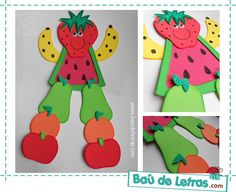 .::BAÚ DE LETRAS::. E.v.a. e Scrapbook: Amigo Fruta Cafeteria Decor, Preschool Garden, Preschool Food, Art For Kids, Crafts For Kids, Fruit Crafts, Apple Activities, Bible School Crafts, Fruit Decorations