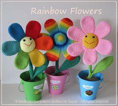 Amigurumi crochet patterns, Rainbow Flowers
