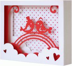 Silhouette Design Store - View Design #74945: 5x7 love birds shadow box card