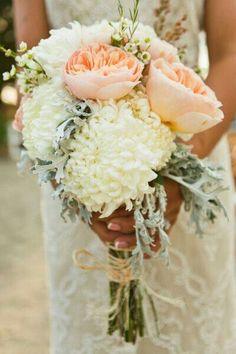 Bridal Bouquet With A Very Romantic & Vintage Look! Large Light Peach English Garden Roses, White Crysanthemum, White Wax Flower, & Dusty Miller****