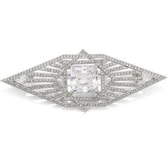 Adriana Orsini Deco Pave Brooch ($100) ❤ liked on Polyvore featuring jewelry, brooches, apparel & accessories, silver, art deco-inspired jewelry, art deco jewellery, adriana orsini, art deco jewelry and adriana orsini jewelry