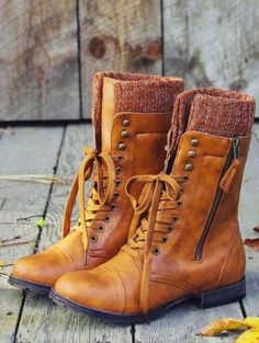 Side Zip Lace Up Boots