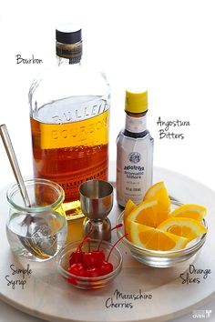 2 ounces bourbon. 1 1/2 teaspoons simple syrup. 2-3 dashes Angostura bitters. ice. 1 orange slice.1 maraschino cherry, with stem.Combine the bourbon, simple syrup, and bitters in a glass, and stir to combine. Add ice, then add the orange slice and maraschino cherry. Let the drink sit for a few minutes, or give it a little shake to let the flavors of the orange and cherry seep into the bourbon. Drink and enjoy.
