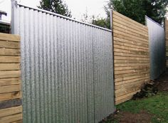 Inexpensive Galvanized Corrugated Metal Fence Google Search Fences Diy Privacy