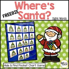 """This Christmas themed """"Hide and Find"""" pocket chart game is a fun and easy way to practice sight word recognition. Preschool Christmas, Christmas Activities, Christmas Themes, Winter Activities, Christmas Crafts, Kindergarten Sight Word Games, Sight Word Activities, Kindergarten Reading, Find Santa"""