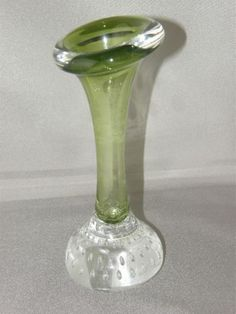 1960's ASEDA Åseda Glasbruk Sweden Green Bone Vase Jack in the Pulpit Art Glass