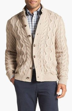 Men's hand knit aran cardigan turtleneck sweater cardigan men clothing wool handmade men's knitting aran cabled crewneck