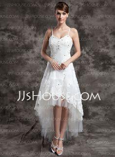 Wedding Dresses - $156.99 - A-Line/Princess V-neck Asymmetrical Organza Tulle Wedding Dress With Lace Beadwork (002024067) http://jjshouse.com/A-Line-Princess-V-Neck-Asymmetrical-Organza-Tulle-Wedding-Dress-With-Lace-Beadwork-002024067-g24067
