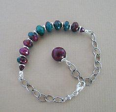 Ruby in Zoizite, Garnet & Oxidized Sterling Silver Chain U&C Sundance Bracelet