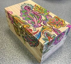 Learn how to use a coloring book design to add color and unique appeal to a plain, wooden recipe box. Before/After - look what a little color…