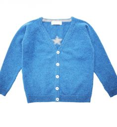 Oliver Baby & Kids Cashmere Cardigan with Small Star, Denim Blue with Grey #catherinethegreaststyleicon