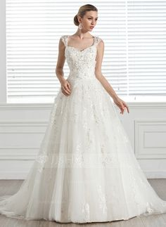 Balklänning Hjärtformad Court släp Tyll Bröllopsklänning med Pärlbrodering Applikationer Blomma (or) (002005283)