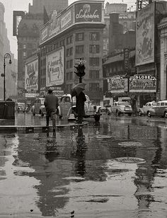 NYC Times Square on a rainy day, 1942