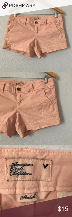 American Eagle pale pink shorts size 4 These classy pale pink shorts from American Eagle are more pink in person than what is shown in the pictures (in the pictures, they look kind of salmon). Measurements are shown in the pictures. They are in EUC with no holes, rips, or stains. Bundle with other items in my closet for the best deal! American Eagle Outfitters Shorts