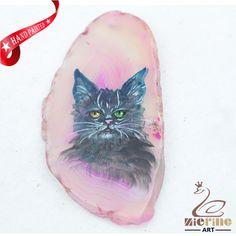 Hand Painted Cat Agate Slice Gemstone Necklace Pendant Jewlery D1706 1664 #ZL #Pendant