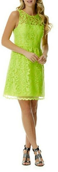 92d0845d6e Laundry Neon Green Lace Overlay Dress