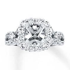 Diamond Ring Setting 1-1/3 ct tw Round/Princess 14K White Gold