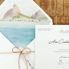 Convite de casamento em aquarela Casar na praia Casar no Rio
