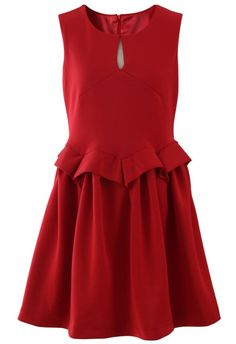 What Would Belle Wear? Peplum Sleeveless Red Bud Dress