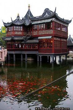 Yu Garden [or Yuyuan Garden]: Huxinting Tea House Ancient Chinese Architecture, Chinese Buildings, China Architecture, Japanese Architecture, Beautiful Architecture, Gothic Architecture, China Garden, Ancient China, China Travel