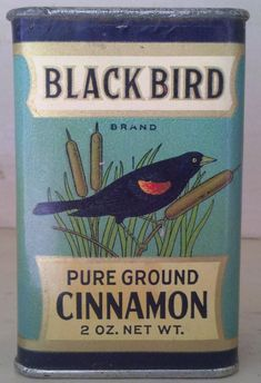 Very rare black bird cinnamon spice tin antique excellent condition nebraska