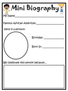 This sheet is great for introducing your primary students to early research skills.Part of a Primary Black History Unit! Also could be used as a fact gathering sheet for informational writing. Modify for practice using WB online bios Library Lesson Plans, Library Skills, Library Lessons, Library Ideas, Teaching Social Studies, Teaching Writing, Writing Activities, African American History Month, Black History Month Activities
