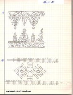 Borders for hand embroidery. A) Redwork pattern ; B) Maltese / Sindhi Stitch embroidery pattern .... Plate # 45