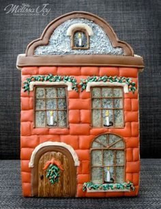 Melissa Joy Fanciful Cookies Gingervillaggio — with The Cookie Architect. What a work of art 😍 Fancy Cupcakes, Fancy Cookies, Iced Cookies, Cookies And Cream, Holiday Cookies, Gingerbread Decorations, Gingerbread Cookies, Christmas Gingerbread House, Gingerbread Houses