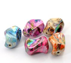 10 Acrylic Swirl Bead Nuggets Mix Colors by OverstockBeadSupply, $2.35
