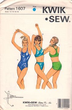 Kwik Sew 16071980s Misses Micro Mini Skirt One Piece and Bikini womens vintage sewing pattern Racing Back by mbchills on Etsy