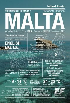 hours of sunshine a year and some of the clearest waters in the world. Check out our Malta infographic. Malta Travel Guide, Travel Guides, Places Around The World, Travel Around The World, Travel Itinerary Template, World Geography, Wanderlust Travel, European Travel, Vacation Trips