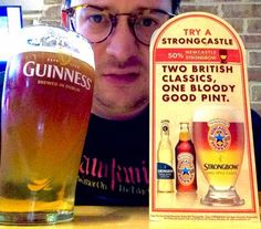 Introducing the Strongcastle: the mixture of Strongbow and Newcastle Brown Ale that nobody asked for. Newcastle Brown Ale, British Things, All Beer, Guinness, Pint Glass, Brewing, Drinking, American, Funny Stuff